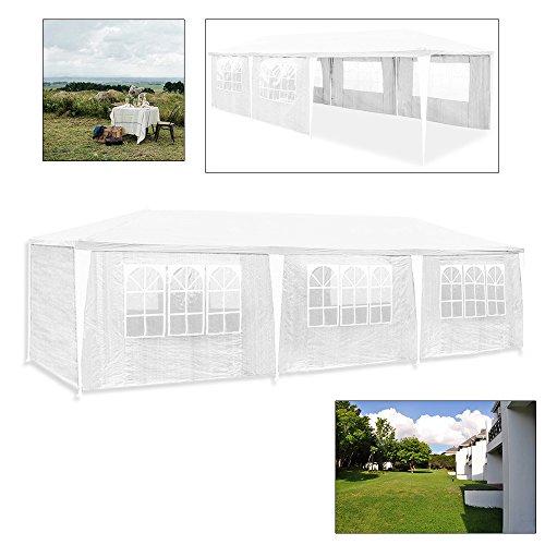 Hengda 3x9m Pavillon UV-Schutz weiß Partyzelt Material PE-Plane Gartenzelt Hochwertiges mit 8 Seitenteilen für Hochzeit Party Garten Markt - 5