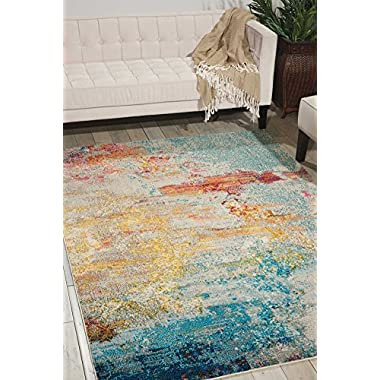Nourison Celestial (CES02) Modern Watercolor Area Rug, 6'7  x 9'7 , Multicolor Grey
