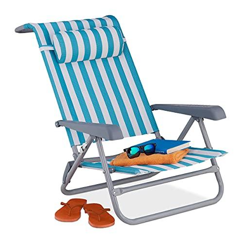 Relaxdays Liegestuhl klappbar, 8-stufig verstellbar, Strandstuhl mit Nackenkissen, Armlehnen & Flaschenöffner, blau/weiß, 1 Stück