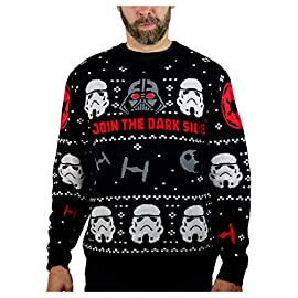 Star Wars Darth Vader Stormtroopers Ugly Christmas Sweater Adult Holiday Sweater 11 Sweaters are 100% acrylic. Machine washable on gentle wash 30 degrees. Outstanding fabric quality! cozy non itchy fabric. official musterbrand merchandise The force is strong with this one! festive holiday ugly Christmas unisex sweater - a must have for Christmas ugly sweater contest!
