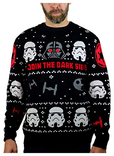 Star Wars Darth Vader Stormtroopers Ugly Christmas Sweater Adult Holiday Sweater Large Multicolor