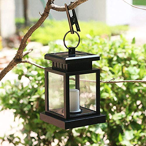 Luces colgantes, 1 pieza con vela LED blanca cálida linterna solar para exteriores, decoración de luces colgantes, lámparas solares exteriores, lámpara de jardín solar impermeable