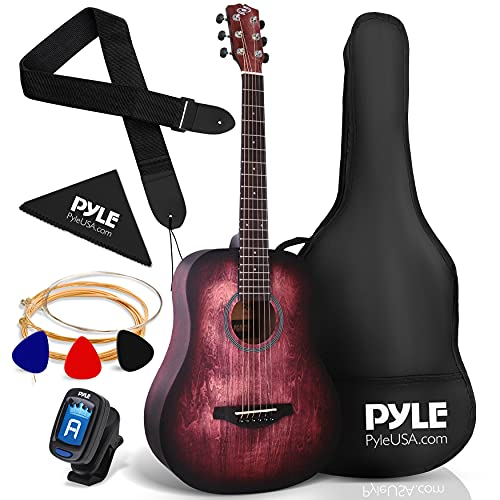 "Pyle, Acoustic Guitar Starter Pack-34"" ½ Junior Size 6 Linden Wood Red Burst Design w/Accessories Case Bag Steel Strings, Nylon Strap, Tuner, Picks, for Beginner, Right (PGA820)"