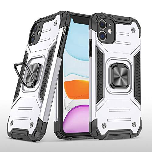 COOVY® Funda para Apple iPhone 11 Carcasa de PC + Silicona TPU + PC, Protección extrafuerte, función Atril, Anillo de Soporte y Soporte magnético | Lata