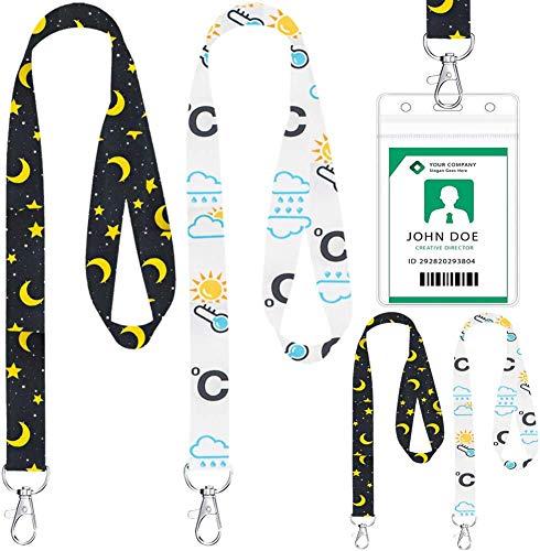 Cordón de Girasol con Portatarjeta, BESTZY Correas de Cuello de Girasoles Portatarjetas Transparente Porta Credencial Transparente Impermeable - 4 Sets