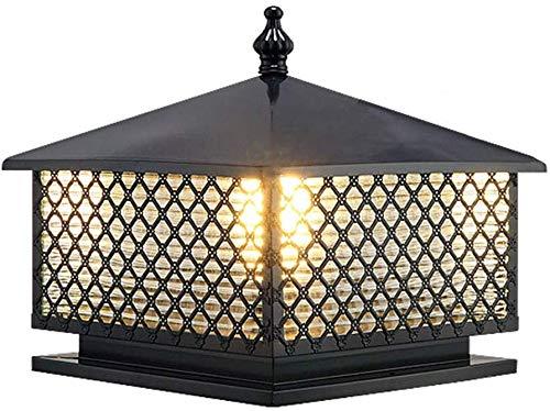 Beautiful Home Decoratielampen Vintage E27 buitenzuil lamp buitenverlichting zwart, metaal, glas waterdicht poller gazonlampen Yard tuin binnenplaats doorpost-bollamp omheining lampen, 37 x 40 x 40 C