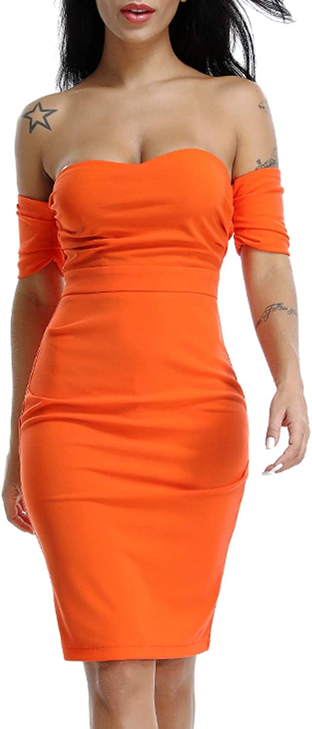 Deer Lady Womens Sexy Off Shoulder Strapless Short Sleeve Party Cocktail Bodycon Dress