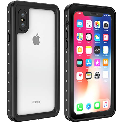 Alohelo iPhone X/Xs Waterproof Case, Underwater Full Body Protection Case IP68 Certified for Waterproof Snowproof Shockproof and Dustproof with Built-in Screen Protector for iPhone X/Xs
