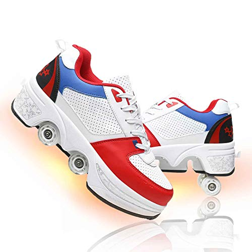 shoes with wheels for adults Deformation Roller Shoes for Women Parkour Shoes Outdoor Light Shoes with Wheels for Girls/Boys Automatic Walking Shoes Multi-Purpose Roller Skating Shoes for Adults