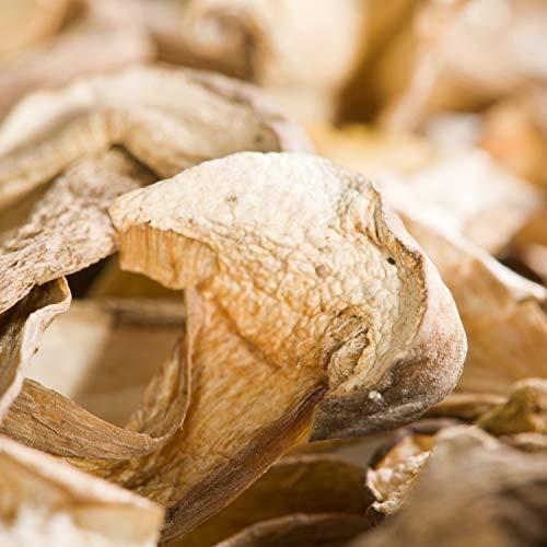Die Trüffelmanufaktur - Feinkost Steinpilze getrocknet, Edelpilz mit geringem Stielanteil, perfekt zu Pasta, Gemüse, Fisch und Fleisch, getrocknete würzige Stein-Pilz-Scheiben im 50 g Glas