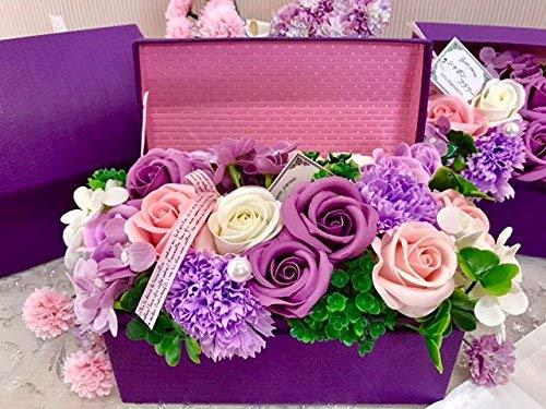 フレグランス シャボンフラワー ソープフラワー 薔薇 枯れない 花 溢れる お花 ボックス タイプ プレゼント 母の日 父の日 出産祝い 結婚祝い お見舞い 誕生日 石鹸 香り ギフト お祝い ラッピング 包装 (パープルボックス)