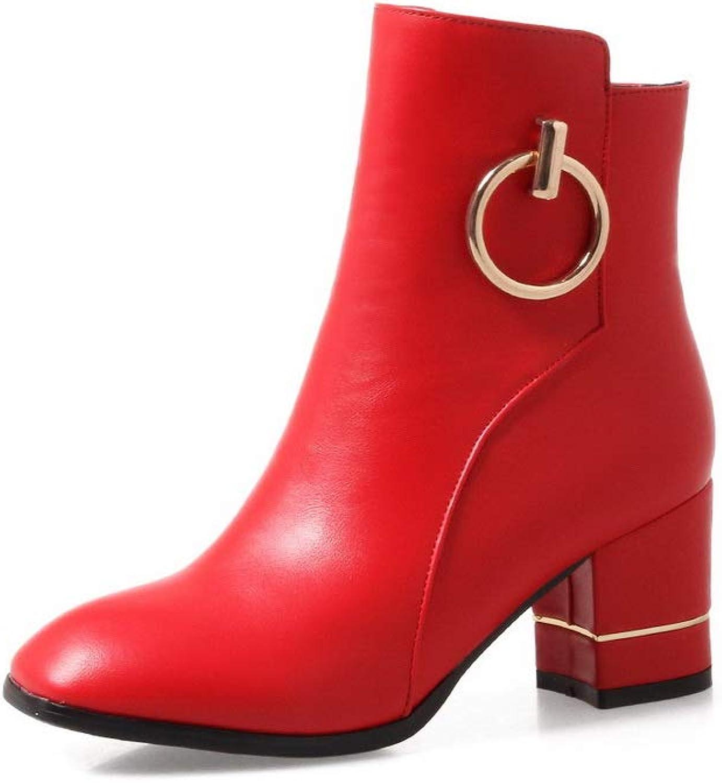 AN Womens Chunky Heels Metal Buckles Urethane Boots DKU02512