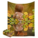 Cute Squirrel Throw Blanket with Name Text for Bed Sofa Super Soft Fleece Blankets for Gift Baby Kids Adult 50 x 60 Inch