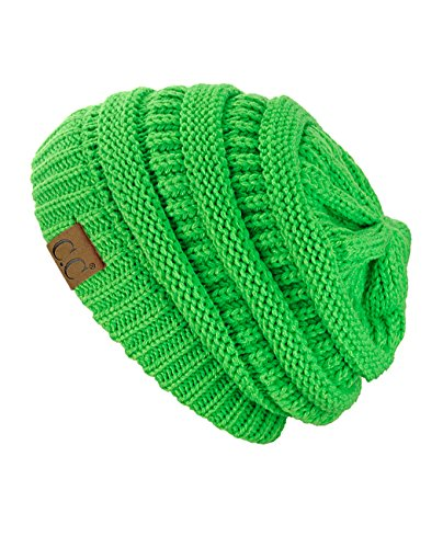C.C Trendy Warm Chunky Soft Stretch Cable Knit Beanie Skully, Neon Lime