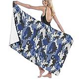 Yuanmeiju Unisex Navy Camouflage Bath Towel Adult Soft Microfiber Printed Toalla de Playas Travel Towel 32x52 Inches
