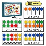 Torlam Giant Magnetic Ten-Frame Set - Math Manipulatives for Elementary - 5 Ten Frames & 55 Magnetic Math Counters for Kids, Math Games for Kindergarten (Upgraded Version for Hand-held & 2 Black Pens)