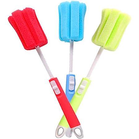 3 spazzole in spugna per lavare i piatti, con manico lungo regolabile, morbide per la pulizia di biberon, bicchieri e tazze (colore casuale)