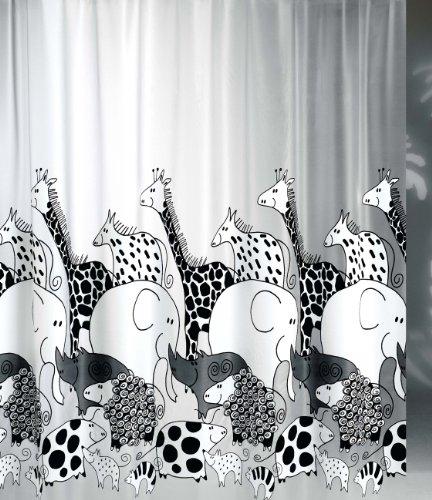 wohnideenshop Duschvorhang Zoo Giraffe Elefant 240cm breit x 180cm lang transparent mit Ringe Vinyl