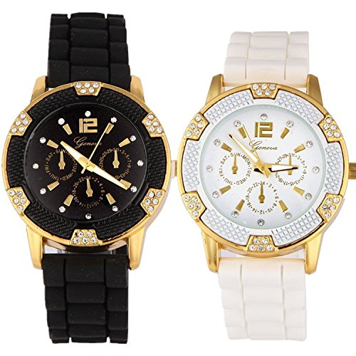 Geneva Black and White Faux Rhinestones Chronograph Silicone Watch