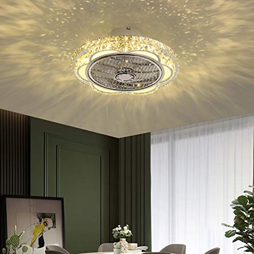 Bustling world Crystal Ceiling Fans with Lights, 20'' Modern Stepless dimming 3 Speed Invisible Acrylic Blades Semi Flush Mount Low Profile Fan, Ceiling Fan Light Covers,B