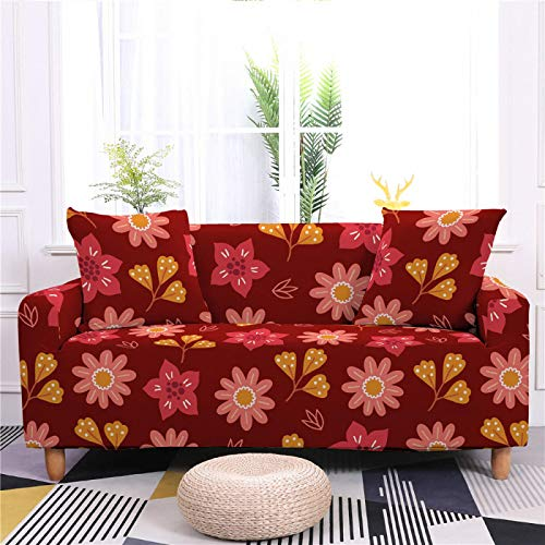 Universal Sofa Cover Spandex Stretch Couch Slipcover Red Small Flower Pattern Tight Fitted Armchair Loveseat Settee Cover 1/2/3/4 Seater Sofa Protector,3,seater 190,230cm