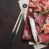 Omabeta avec Conception de Verrouillage 1Pc Pinces 100% Brond Nouveau pour Barbecue de Cuisine(Black)