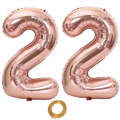 Luftballons Zahl 22, Nummer 22 Luftballon Rosegold Mädchen Luftballons 22. Geburtstag Folienballon, Zahl 22 Rose Gold Nummer 22 Ballons Große 32 Zoll Riese Heliumfolie Ballon