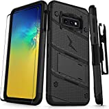 Zizo Bolt Cover - Case for Samsung Galaxy S10e with Military Grade + Glass Screen Protector & Kickstand and Holster (Black/Black)