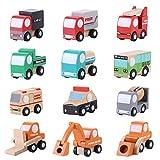 Fdit Veicoli di Città in Legno Set di Giocattoli in Legno Set Toy Car Truck Push Giocattoli Traffico Giocattoli Regalo per Bambini Modello di Auto Giocattolo di Costruzione Set di Treni 12 PCS