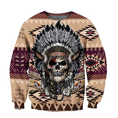 Love Skull Native Indian 3D All Print Hoodie Hombre Mujer Harajuku Zipper Pullover 3D Sweatshirt XXL