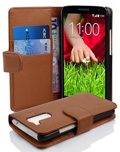 Cadorabo Hülle für LG G2 Mini in Cognac BRAUN – Handyhülle aus Strukturiertem Kunstleder mit Standfunktion & Kartenfach – Hülle Cover Schutzhülle Etui Tasche Book Klapp Style