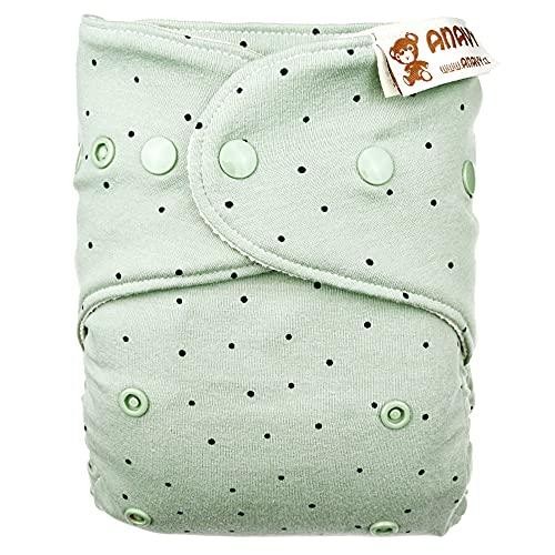 Anavy - Copripannolino in lana taglia 2 (6-16 kg) – pois (verde) – Lana Merino biologica (arrampicata e stampa) – Tipo di chiusura con bottoni a pressione (stampa)