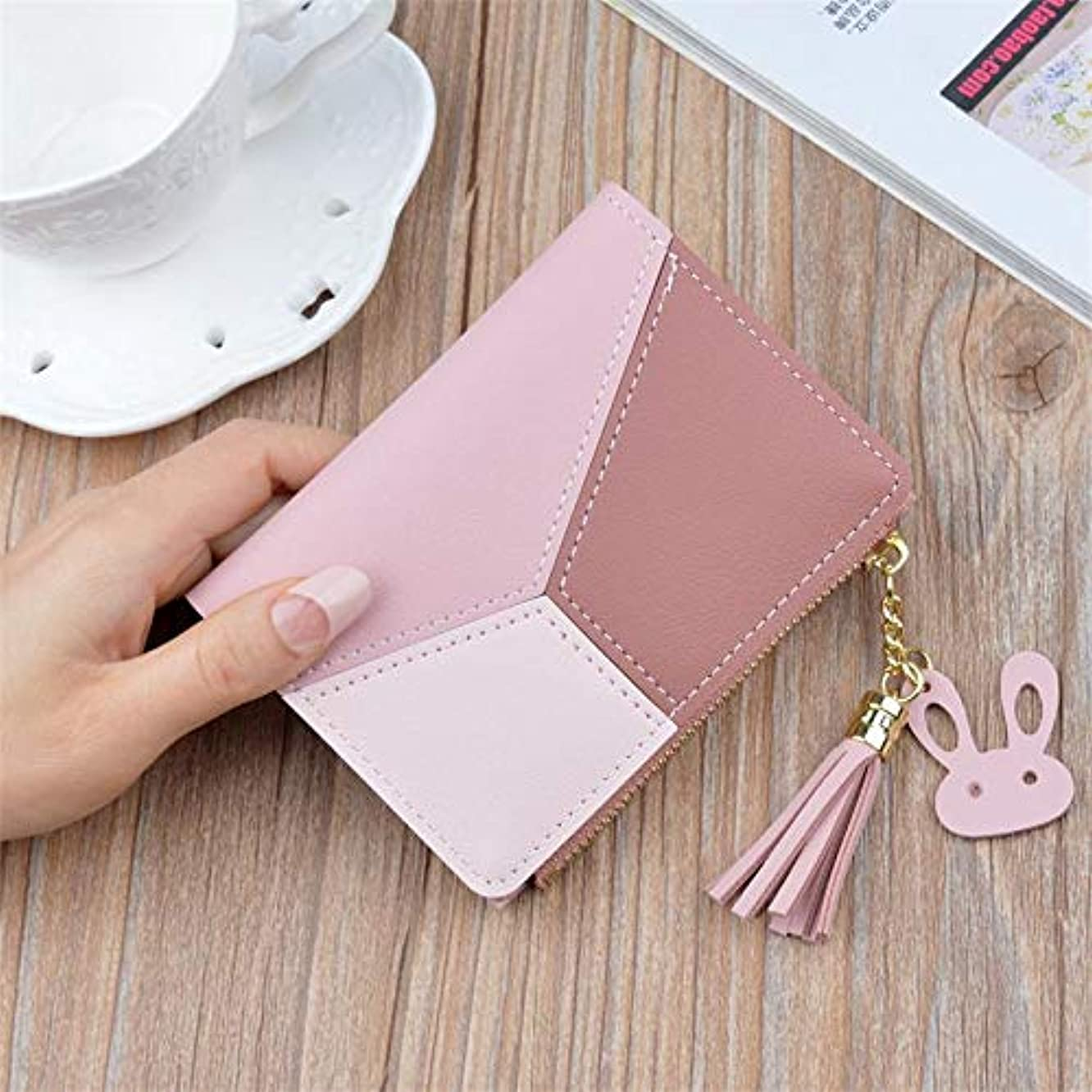 Eaglers Wallet Short Women Zipper Purse Patchwork Panelled Trendy Coin Purse Card Holder Leather.