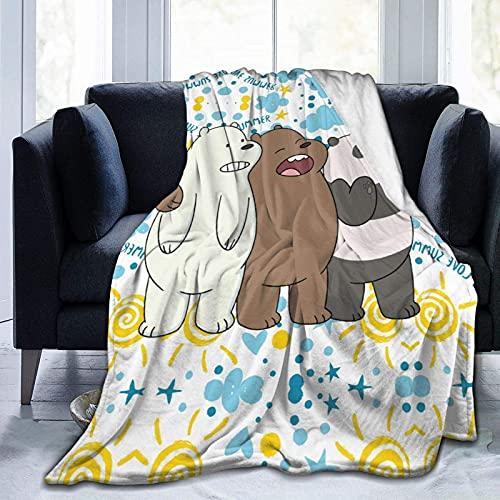 Cool We Bare Bears - Manta de franela para todas las estaciones, cálida para sofá cama, suave y de lujo, cálida sala de estar, dormitorio, M 150 x 100 cm