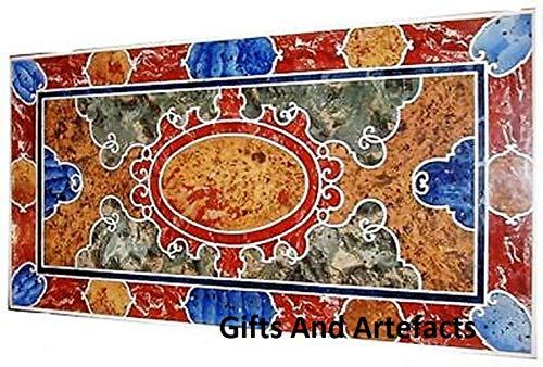 Gifts and Artefakte Rechteckige Form Marmor Konferenztisch Tischplatte Mosaikkunst mit Halbedelsteinen eingelegt Arbeit Elegant Büro Meetingtisch,...