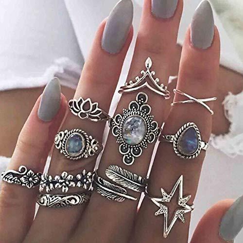 Runmi Juego de 10 anillos para nudillos bohemios de plata, anillos de dedo apilables, accesorios de joyería de cristal para mujeres y niñas