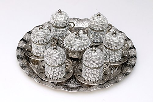 Handmade Turkish Arabic Coffee Espresso Serving Set Swarovski Crystal Coated Cups (pearl and Crystal Coated)
