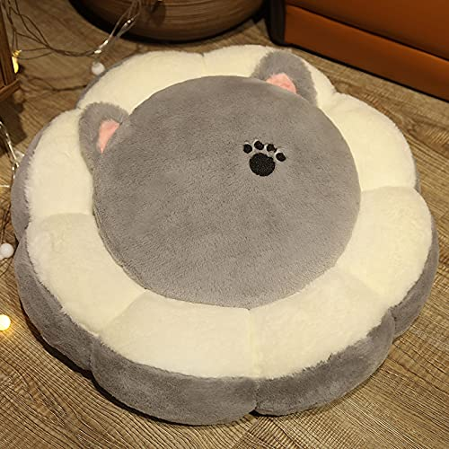 KXEYTAE Cartoon Tatami Cushion Floor Futon Cute Lazy Sitting Pier Bay Window Bedroom Home Thicken Mat (Color : Gray cat, Size : 50x50cm)