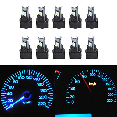 WLJH 10 Pack Ice Blue Canbus T5 Led Bulb 2721 37 74 Wedge Lamp PC74 Twist Sockets Dash Dashboard Lights Instrument Panel Cluster Leds Replacement