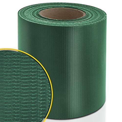 Certeo PVC-Sichtschutzstreifen | Für Gittermatten-Zäune | HxL 19 x 3500 cm | Grün | Zaunschutz Windschutz Zaunfolie