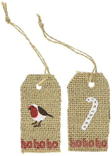 Ginger Ray Weihnachts-Geschenkanhänger aus Sackleinen, 8 Stück, mit Bindfaden, Vintage Noel