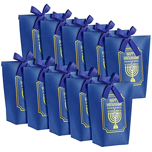 10 Pieces Hanukkah Present Bags Chanukah Party Favor Bag Paper Treat bags Candy Goodie Bags with Ribbons for Hanukkah Holiday Party Supplies, Blue and Gold