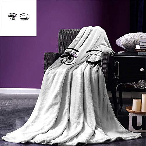 Cy-ril Style de Dessin animé de Cils Couverture Dramatique Femme Yeux avec Longs Cils Winking Flirting Gesture Chaude Couverture en Microfibre 100 x130 cm