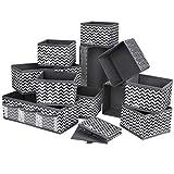 DIMJ 12 Stück Aufbewahrungsbox, Schublade Organizer für Socken, Unterwäsche, Faltbar Aufbewahrungskisten aus Stoff für Schrank, Tische, Schubladen Ordnungssystem (Grau)