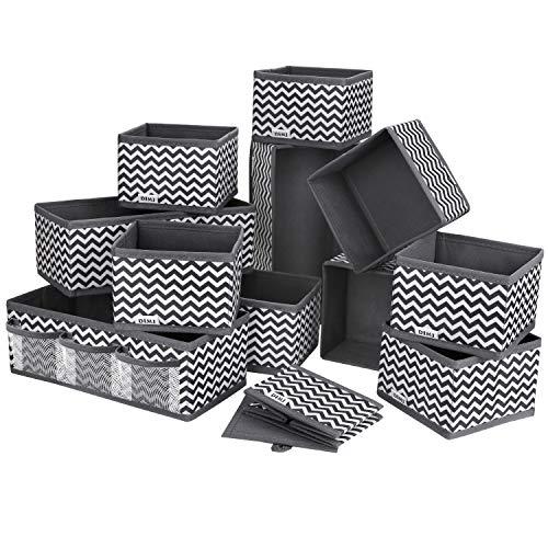 DIMJ 12 Stück Aufbewahrungsbox Organizer faltbar Unterwäsche Socken Stoff Organizer für Schubladen Schrank Tische Ordnungssystem