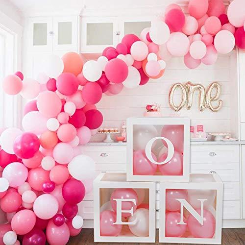 Cajas de globos de primer cumpleaños para decoraciones de fiesta, decoraciones de bloques de globos de primer cumpleaños con una letra para Baby Shower de niño niña, accesorio para sesión de fotos