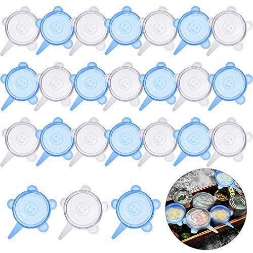 24 Pieces Silicone Stretch Lids Round Elastic Container Lids