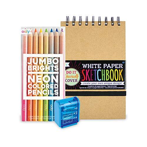 Ooly Happy Pack, Neon Colored Pencils + White DIY Cover Sketchbook + Pencil Sharpener - Jumbo Brights Sketch