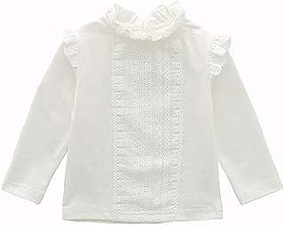 Toddler Little Girls White Plain Shirt Long Sleeve Blouse