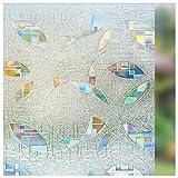 LMKJ Patrón geométrico 3D Color decoración estática privacidad Vidrio Vinilo película para Ventana decoración del hogar película de Vidrio A67 45x200cm